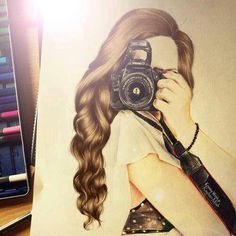 Drawing Girl with camera:
