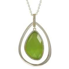 Olive Cat's Eye Gold Plated Sterling Silver Teardrop Pendant from The Luxe Store