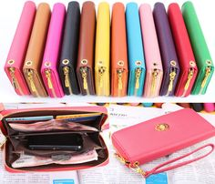 12 Colors Wallet Clutch Long Handbag Phone Case for Galaxy S2,S3,iphone 4,4S,5 - $3.99