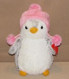 "NWT 10"" Aurora White Gray Pom Pom Penguin Pink Hat Plush Stuffed Animal 09790 #AuroraWorld"