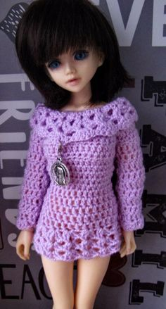 Crocheted sweater or dress for BJD MSD #BJDMSD