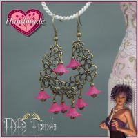 Ohrhänger antik bronzefarbig Blütenkranz Pink - nickelfrei