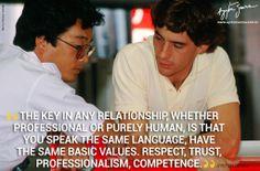Tateo Kiuchi(HONDA engineer of A.Senna/ project leader ) and Ayrton Senna