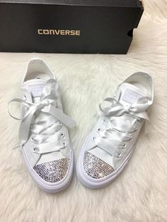 2059a05544f Bling Custom White Converse With Beautiful Swarovski Crystals And Satin  Ribbon Laces These are one of