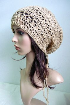 Beret Slouch Crochet Tam Hat in Light Brown