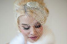 Beaded blusher bridal veil