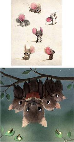 Cute Animal Illustration, Cute Animal Drawings, Kawaii Drawings, Art Drawings Sketches, Cute Drawings, Illustration Art, Whimsical Art, Cute Art, Fantasy Art