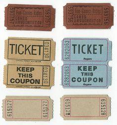 i have saved every movie ticket stub since the grade :) Vintage Tags, Vintage Labels, Vintage Ephemera, Printable Tickets, Printable Labels, Printables, Junk Journal, Bullet Journal, Ticket Design