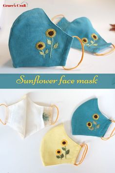 Embroidery Flowers Pattern, Hand Embroidery Designs, Diy Embroidery, Flower Patterns, Easy Face Masks, Cool Masks, Diy Face Mask, Saree Painting Designs, Paper Crafts Origami