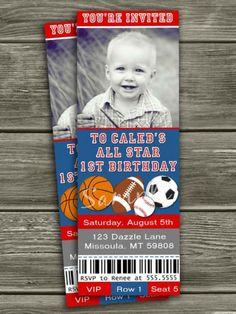 Printable All Star Sports Ticket Birthday Photo Invitation   Boy Birthday  Party Idea   Baseball  