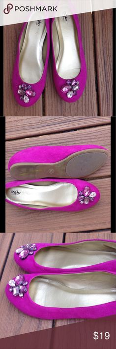Mossimo Ballet Flats Fun Ballet Flats with pink gemstones in a floral pattern.  Shoes are a faux suede in hot magenta.  Sparkly glam! Mossimo Supply Co Shoes Flats & Loafers