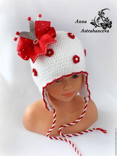 """Купить Шапочка для девочки """"Принцесса"""" с короной, зимняя - белый, корона, шапка с короной, шапочка принцесса"""