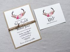 Rustic Wedding Invitation Antler Wedding by LoveofCreating on Etsy