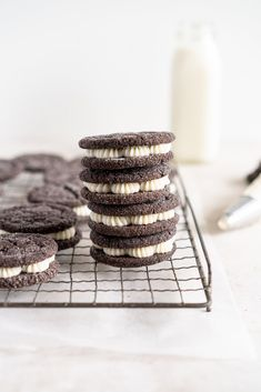 Black Cocoa Sugar Cookie Sandwiches with Cream Cheese Buttercream are the perfect 'grown-up oreo' treat! Soft, chewy black cocoa sugar cookies are paired with a smooth cream cheese frosting to make the perfect sugar cookie sandwich. Chocolate Sugar Cookies, Sugar Cookies Recipe, Peanut Butter Cookies, Cake Cookies, Chocolate Recipes, Cookie Recipes, Oreo Frosting, Oreo Treats, Cream Cheese Buttercream