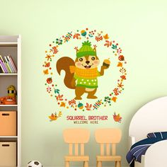 [SHIJUEHEZI] Squirrel Wall Stickers PVC Material Animal Mural Art for Kids Room Kindergarten Decoration Stickers Muraux,High Quality art for kids,China wall sticker Suppliers, Cheap sticker pvc from Jiaxing Wall Decor Store
