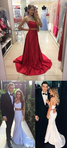 2017 prom dress, two piece prom dress, red mermaid long prom dress, white long prom dress,ball gown