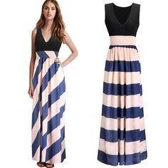 Only $15.08 Women,Summer Style,Chiffon,Striped,Elegant,Party Dresses