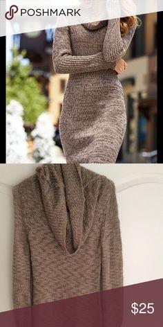 Tan Cowl Neck Sweater Dress Like new! Dresses Long Sleeve