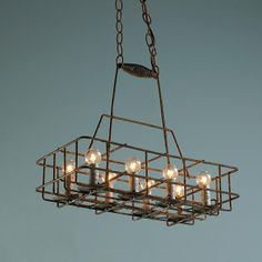 Vintage Repurposed Bottle Carrier Chandelier - 8 light $999.00  Would love to have this above the kitchen island!