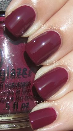 Puff-Fect plum by china glaze soft summer makeup, china glaze nail polish, Plum Nails, Dark Red Nails, Burgundy Nails, Nail Polish Designs, Nail Polish Colors, Nail Designs, Nail Polishes, Pretty Nail Colors, Pretty Nails