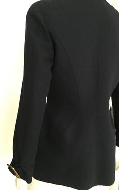 Thierry Mugler 90s Navy Wool Zipper Jacket Size 10.   From a collection of rare vintage jackets at https://www.1stdibs.com/fashion/clothing/jackets/