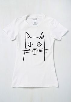 Meow That We Found Love Tee - White, Casual, Critters, Short Sleeves, Summer, Good, Crew, Mid-length, Cats, Black, Print with Animals, Store 2