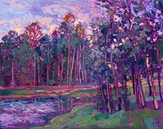 $3,900  30 x 24 Lake Woodlands Texas landscape oil painting by Erin Hanson