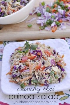 CRUNCHY THAI QUINOA SALAD INGREDIENTS  1 C uncooked quinoa 1 C shredded red cabbage 1/2 red bell pepper, diced 1/2 red onion, diced 1 C shre...