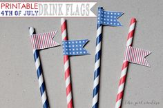Printable 4th of July Drink Flags - The Girl Creative