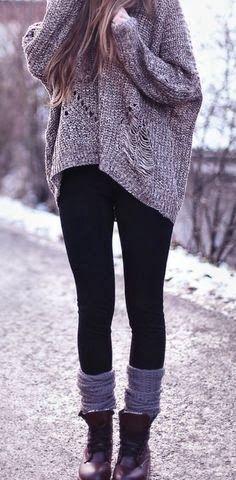 Black legging and over sized sweater fashion | Fashion World