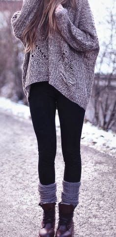 Black legging and over sized sweater fashion