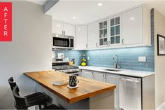 One of the biggest challenges of living in a tiny apartment is the tiny kitchen. After purchasing her studio apartment in Brooklyn, Kelly was determined to create her dream kitchen from what was originally a less than dreamy space. Although square footage was limited, lots of smart choices resulted in a kitchen that's colorful, beautiful, and has the functionality of a kitchen many times its size.