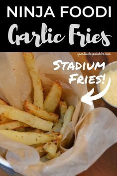 Homemade Ninja Foodi Garlic Fries are crispy fries that have warmed chopped garlic, parsley, parmesan cheese andsaltedfor the perfect amount of flavor. Stadium worthy garlic fries to the rescue! Ninja Recipes, Chef Recipes, Kitchen Recipes, Fall Recipes, Great Recipes, Favorite Recipes, Delicious Recipes, Recipe Ideas, Garlic Parmesan Fries