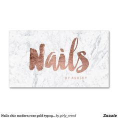 Nails chic modern rose gold typography marble Double-Sided standard business cards (Pack of 100)