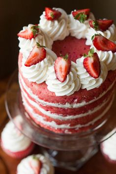 This strawberries & cream cake is made from scratch and full of fresh strawberry flavor coated in clouds of lightly sweetened whipped cream. (Baking Desserts From Scratch) Strawberry Cream Cakes, Strawberry Recipes, Strawberries And Cream, Strawberry Cake From Scratch, Strawberry Puree, Strawberries Garden, Strawberry Sponge Cake, Strawberry Birthday Cake, Cheesecake Strawberries