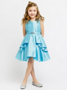 Flower Girl Dress Satin Layered Dress with a Rhinestone BroochTurquoise Party Dress Special Occasion Dress Girls Holiday Dresses, Girls Special Occasion Dresses, Girls Party Dress, Girls Dresses, Flower Girl Dresses, Dress Girl, Gown Dress, Flower Girls, Bridesmaid Dresses Online