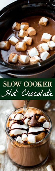 Creamy, rich, and decadent slow cooker hot chocolate made in the crockpot! Recipe on sallysbakingaddiction.com