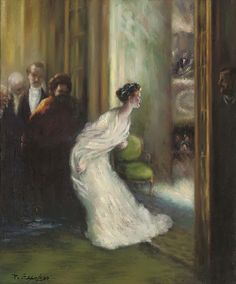 A curtain call at the opera by Delphin Enjolras (French 1857 - 1945)