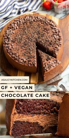 Vegan Gluten Free Desserts, Gluten Free Chocolate Cake, Gluten Free Cakes, Vegan Sweets, Vegan Chocolate, Chocolate Recipes, Chocolate Lovers, Cake Chocolate, Paleo