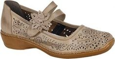 The Rieker Doris 72 Women's Shoe has a rounded toe, perforated design and instep strap.