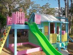 We've rounded up 21 cool cubby houses and awesome play houses, from multi-level constructions to small-but-sweet play tents and creative cardboard versions. Girls Playhouse, Backyard Playhouse, Build A Playhouse, Backyard Playground, Wooden Playhouse, Painted Playhouse, Pallet Playhouse, Playhouse Ideas, Small Yard Kids
