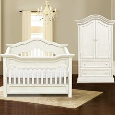 Baby Appleseed Millbury 2 Piece Nursery Set   Convertible Crib And Armoire  In Colonial White FREE