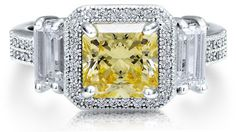 #Berricle                 #ring                     #Sterling #Silver #Princess #Canary #Cubic #Zirconia #3-Stone #Ring ##r488    Sterling Silver 925 Princess Cut Canary Cubic Zirconia CZ 3-Stone Ring #r488                            http://www.seapai.com/product.aspx?PID=1263622