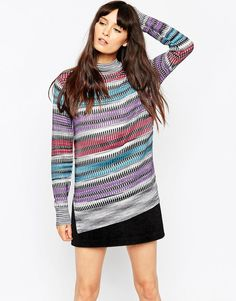Image 1 of ASOS Tunic Jumper In Retro Pattern