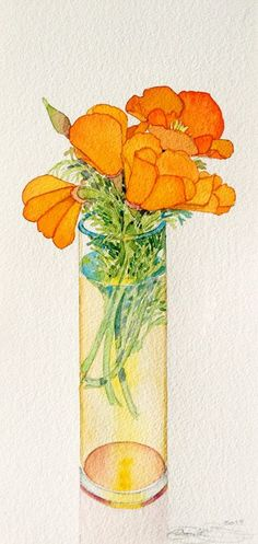 Fantastic poppies in a vase by Gary Bukovnik. His work is so delicate yet so well structured. Watercolor Plants, Watercolor And Ink, Watercolor Illustration, Watercolour Painting, Watercolors, Botanical Art, Gouache, Flower Art, Art Projects