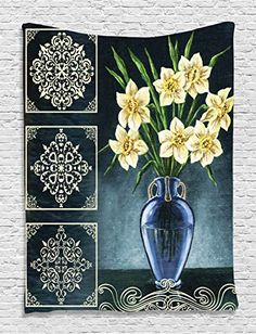 Daffodils Ceramic Pot Picture Art Ornaments Digital Printed Tapestry Natural Floral House Decorations for Wall Hanging Living Room Bedroom Dorm Decor Navy Yellow Green ** Check out this great product.