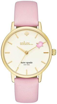 Kate Spade Metro Pigs Can Fly Leather-Strap Watch