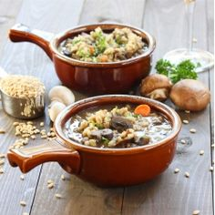 Beef and Barley Soup with Onions, Mushrooms and Red Wine