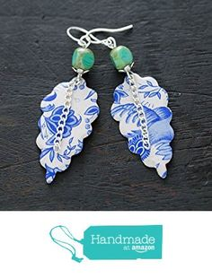 Blue and White Delft Vintage Tin Earrings with Teal Czech Beads from Musing Tree Studios https://www.amazon.com/dp/B01HVV4JIY/ref=hnd_sw_r_pi_dp_MTNFxb0PS3AEE #handmadeatamazon