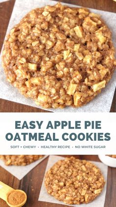 This healthy apple pie oatmeal cookies recipe is the BEST! It's made with no refined sugar, lots of cinnamon & plenty of oats. These chewy apple oatmeal cookies are clean eating, low calorie & SO easy to make! You'll never need another oatmeal cookie recipe again! (PS I've made them with both whole wheat & gluten free flour. Both taste AMAZING!) #healthyrecipe #cleaneating #oatmealcookies #dessert Low Calorie Cookies, Healthy Apple Desserts, Healthy Oatmeal Cookies, Apple Recipes Easy, Low Calorie Desserts, Apple Dessert Recipes, Healthy Cookie Recipes, Oatmeal Apple Cookies, Apple Pie Cookies